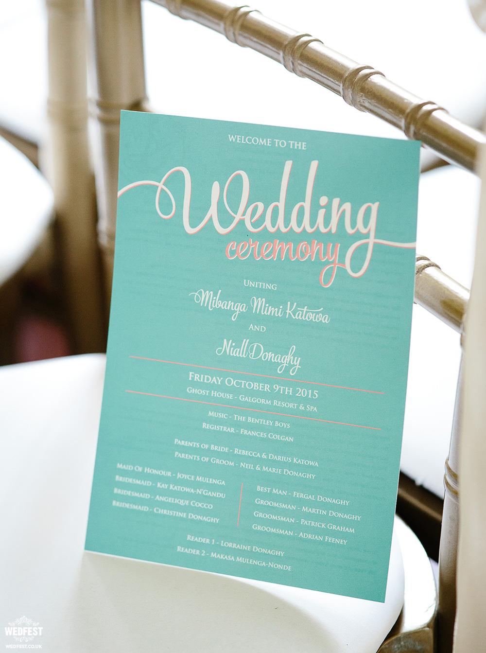alternative wedding order of service cards