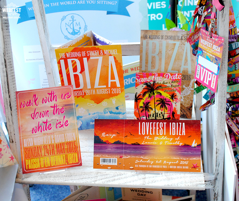 ibiza themed wedding invitations stationery