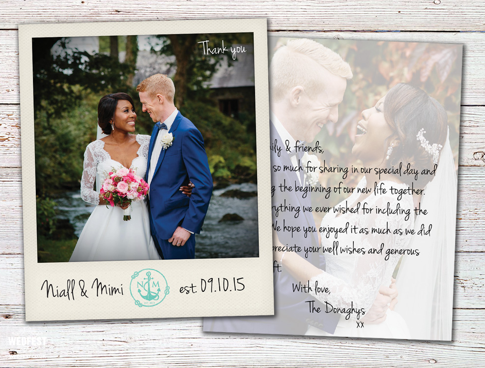 personalised polaroid photo wedding thank you cards