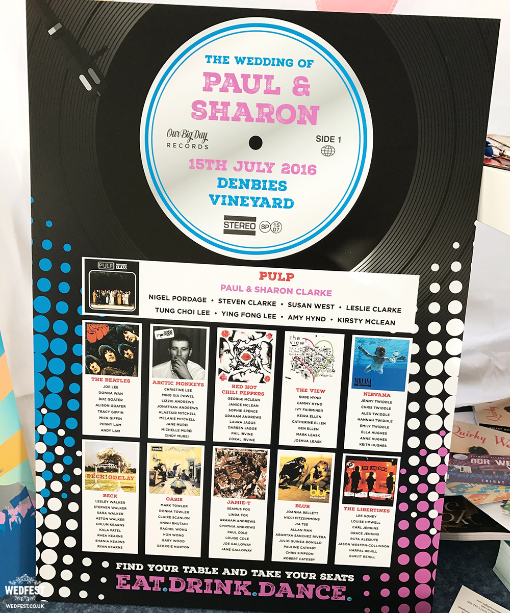 vinyl record wedding table plans