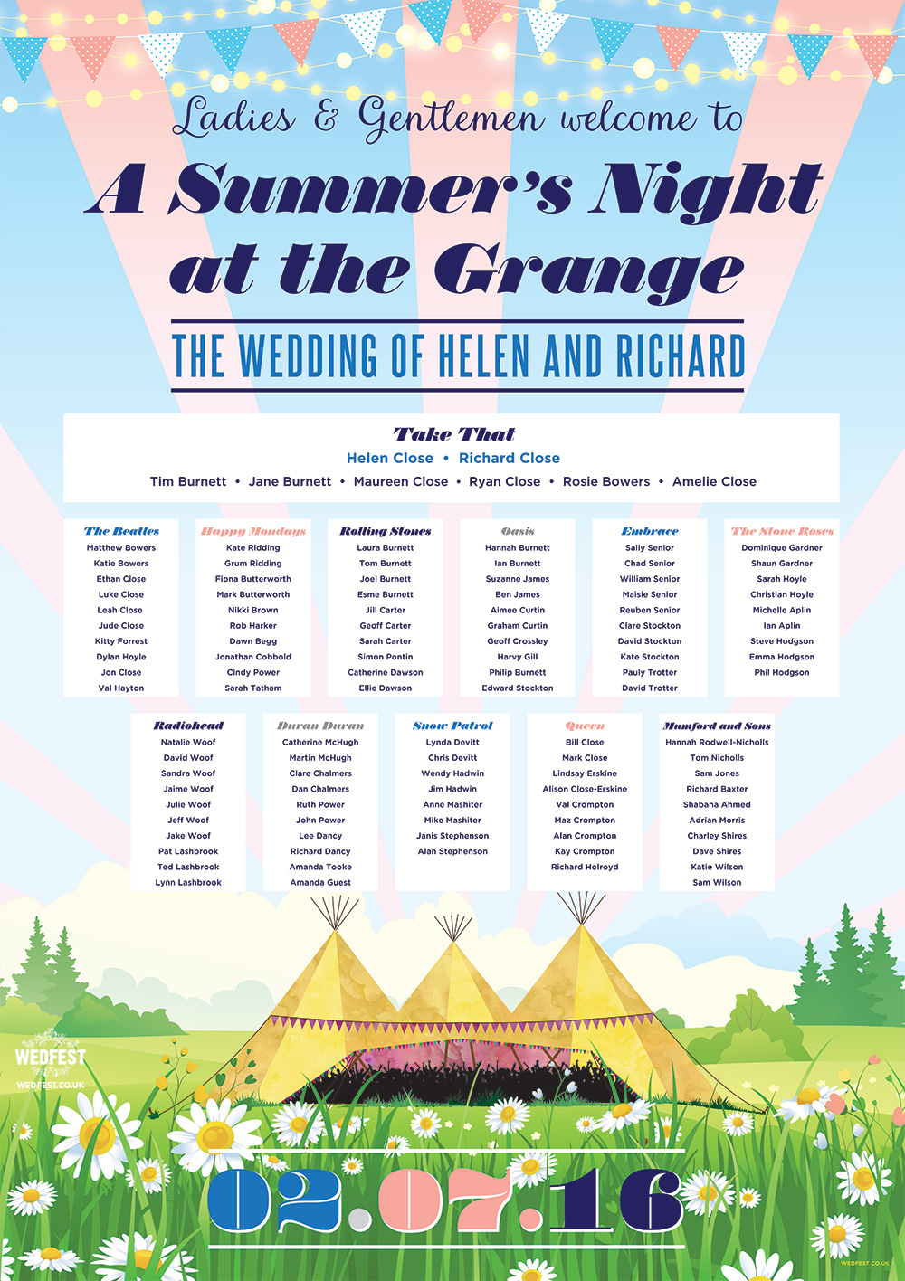 tipi teepee tent festival boho wedding seating plan