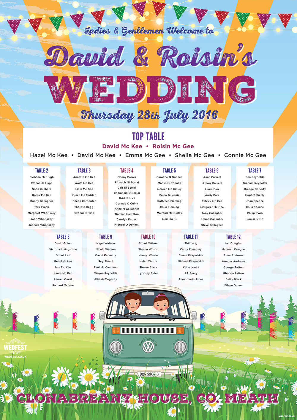 vw campervan festival wedding clonanbreany house meath seating plan