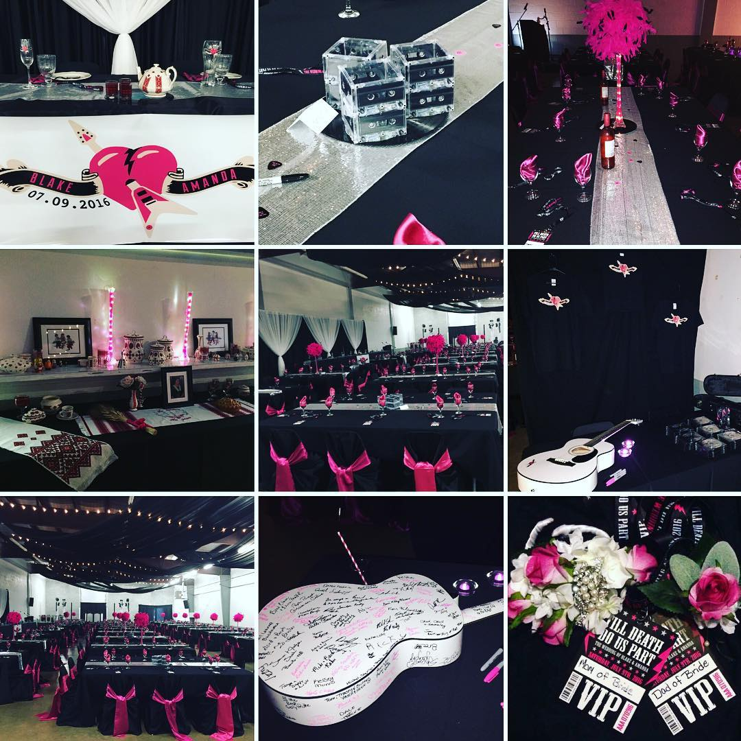 black and pink wedding