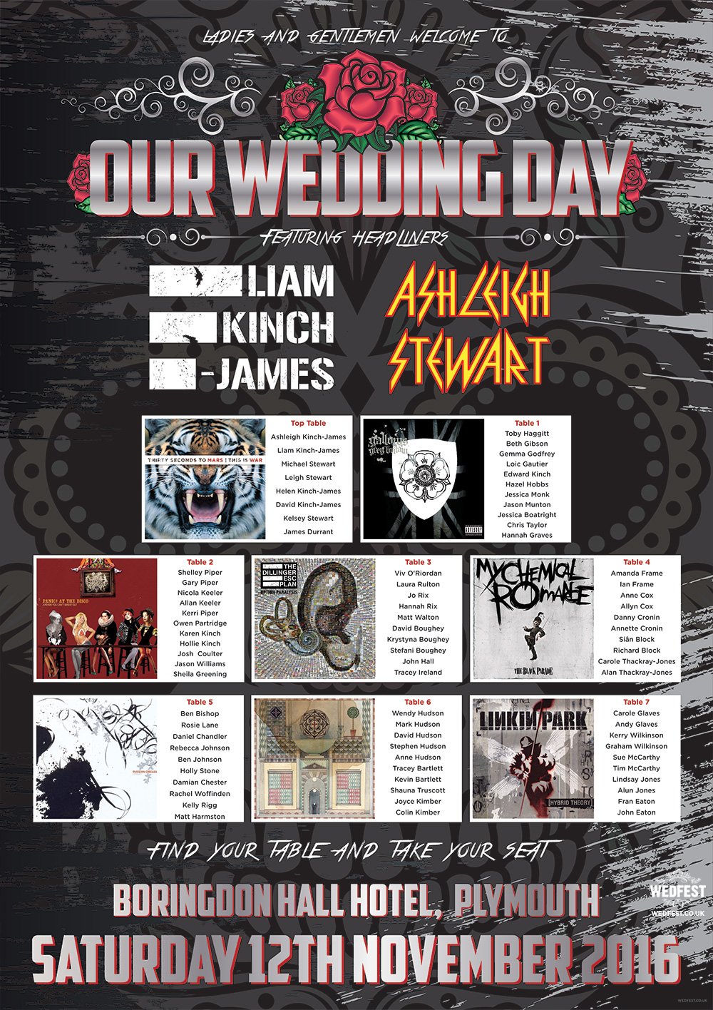 heavy metal rock n roll wedding table plan
