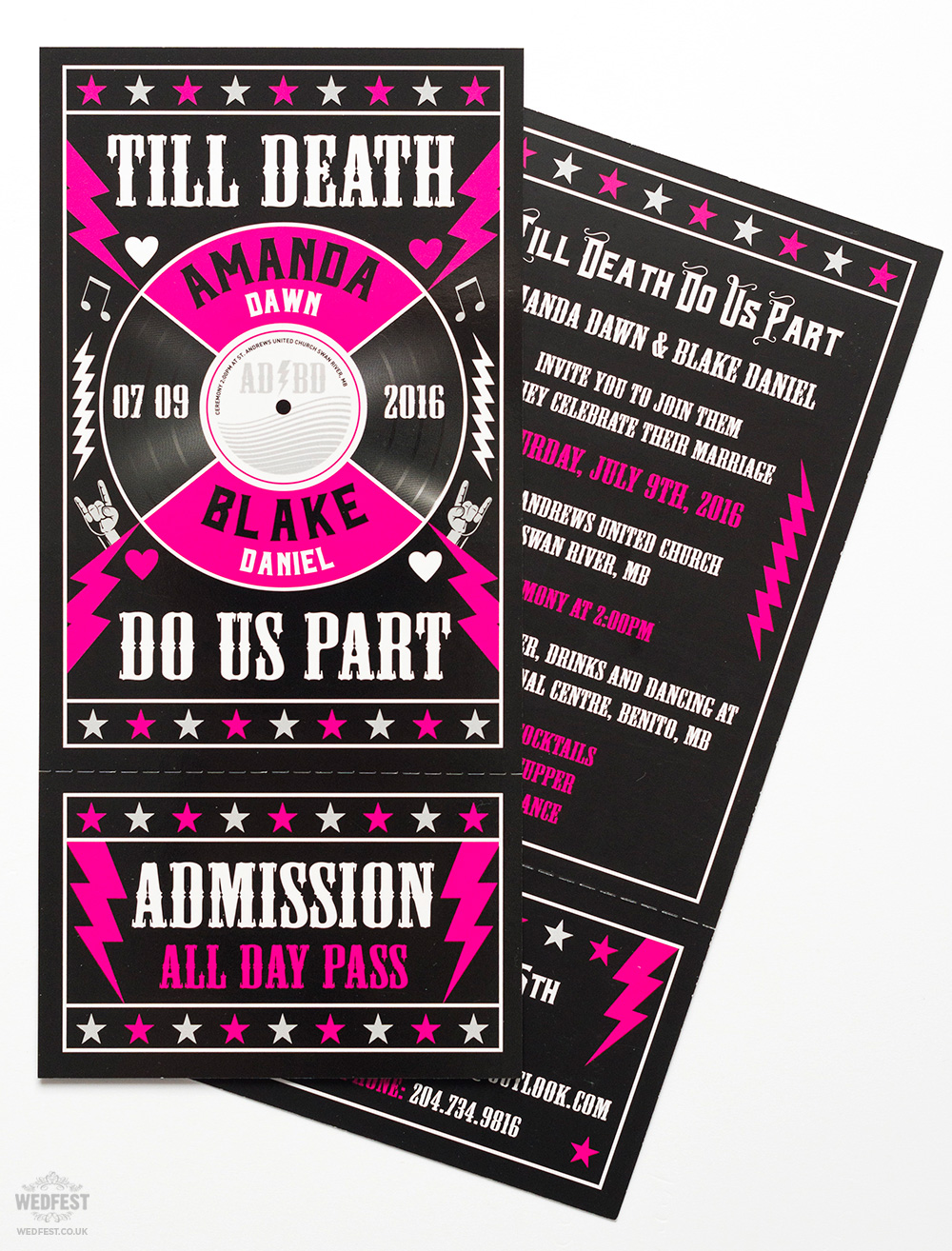 till death do us part rock n-roll wedding invite