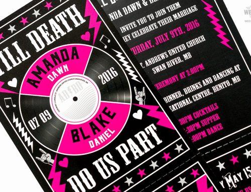 Till Death Do Us Part Rock n Roll Wedding Invitations