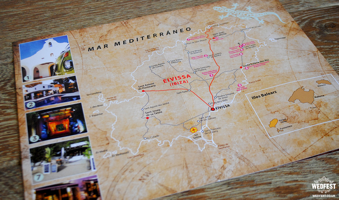 ibiza vintage map wedding invite