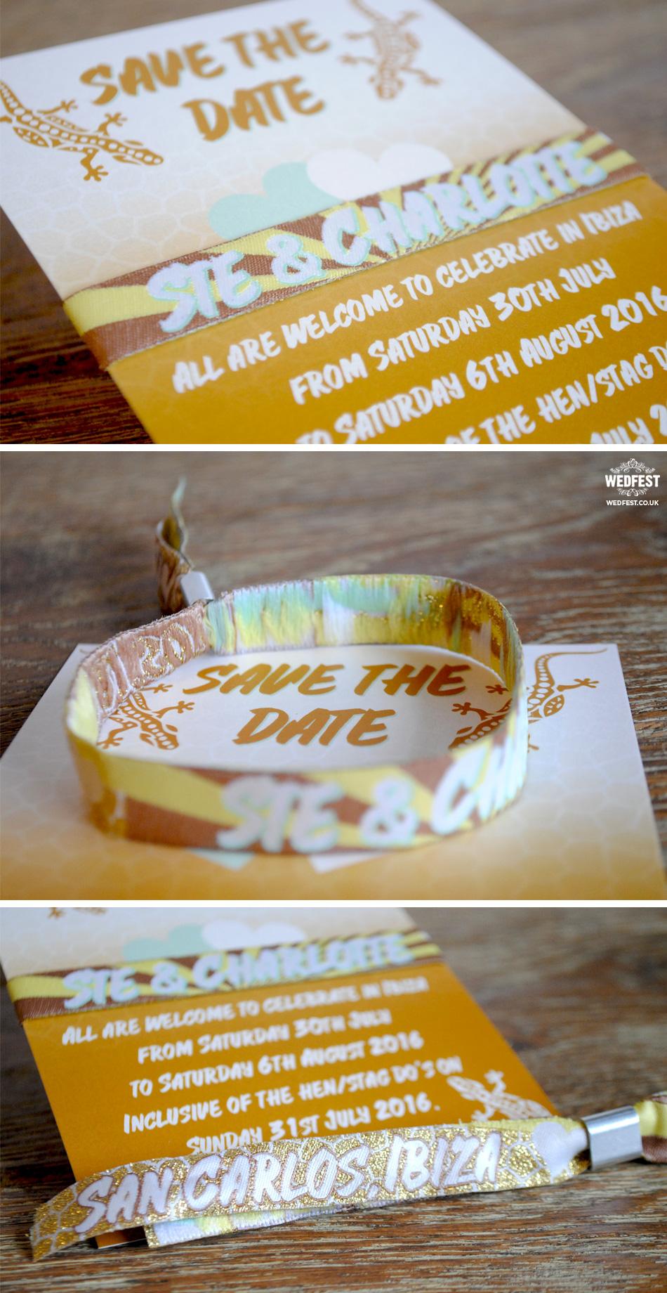 ibiza wedding save the date wristbands