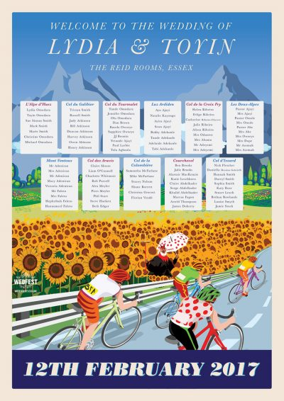 Tour de France cycling wedding table seating plan