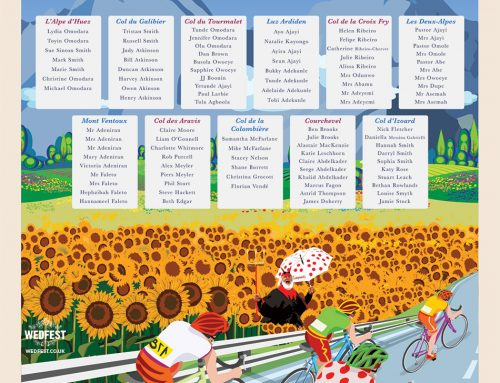 Tour de France themed Wedding Table Plan