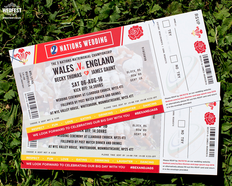wales vs england rugby ticket wedding invitations