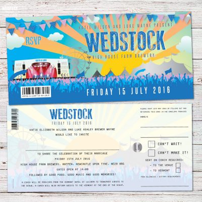 wedstock wedfest festival wedding invitations