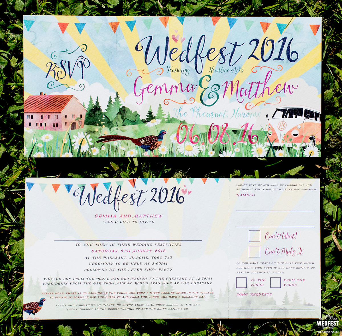 festival wedding watercolour invitations