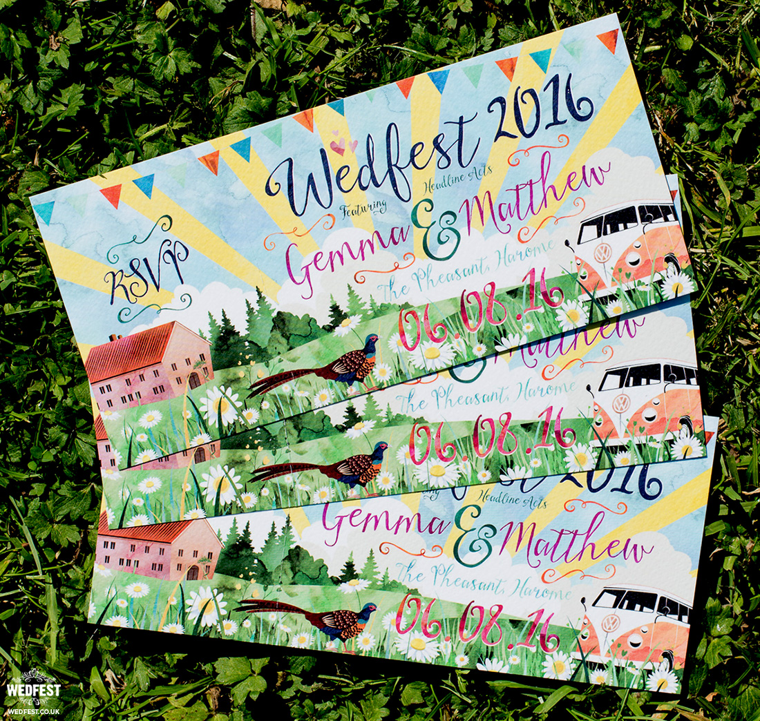 wedfest festival weddings watercolour wedding invites