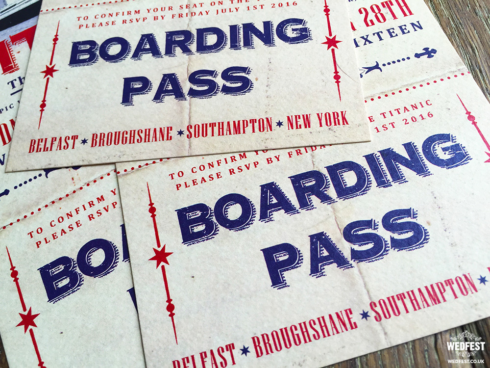 titanic boarding pass ticket wedding invitation