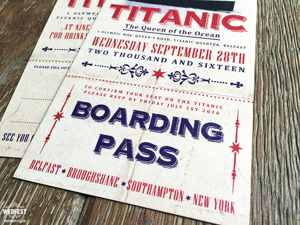 titanic ticket wedding invites