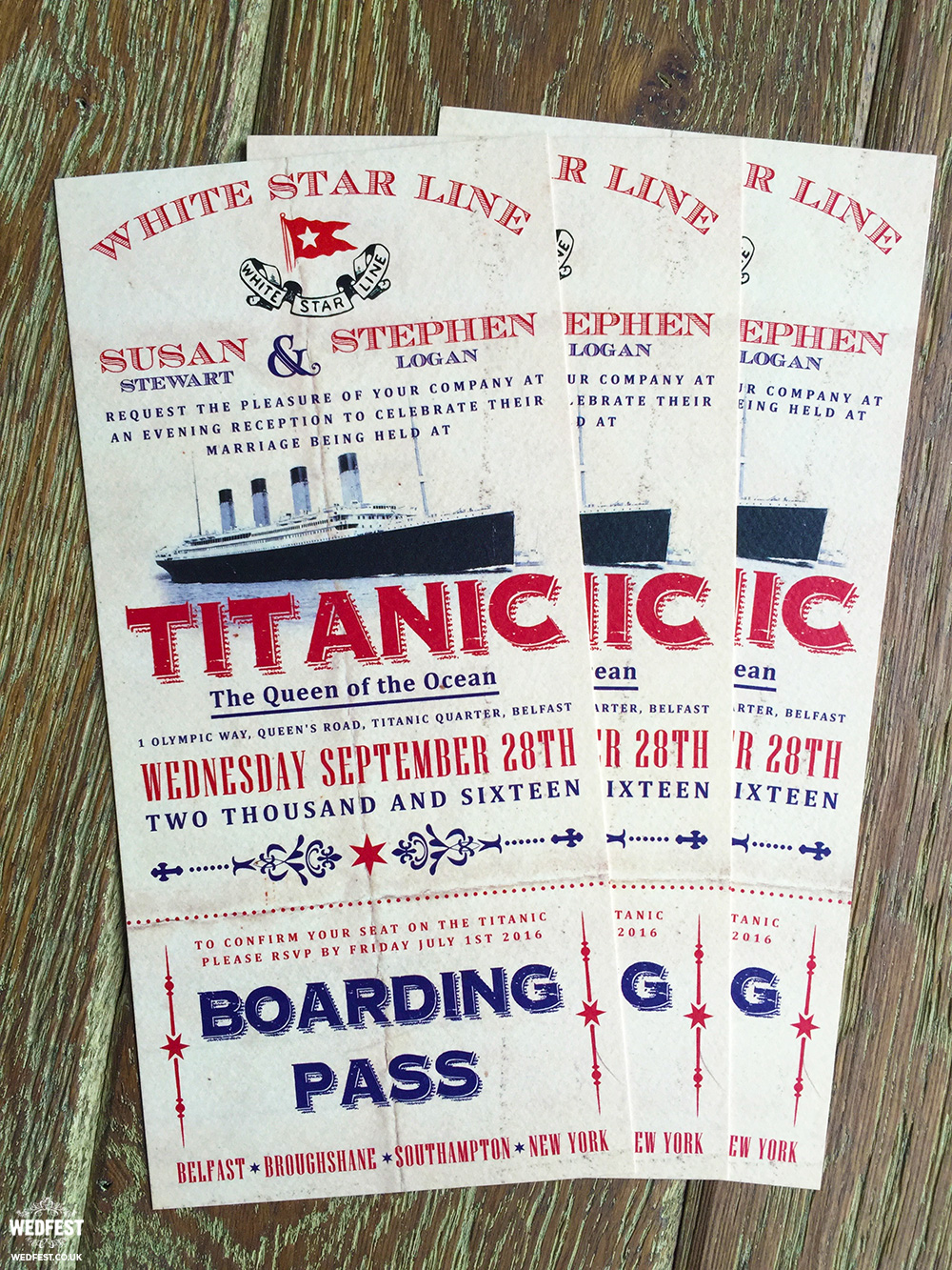 titanic wedding invitations