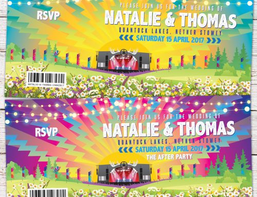 Festival Themed Wedding Invites for Natalie & Thomas