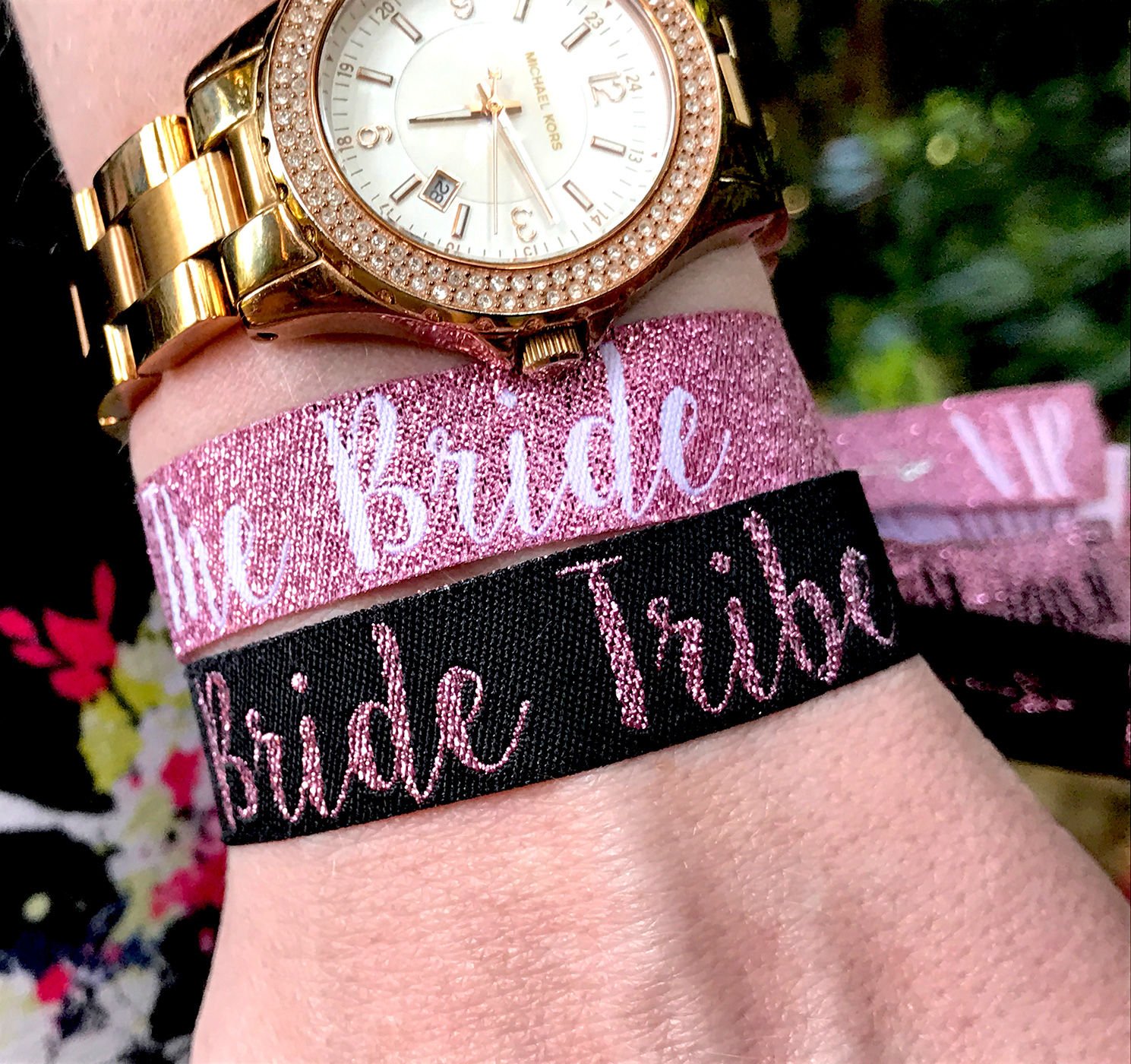 rose gold bride tribe hen party wristbands