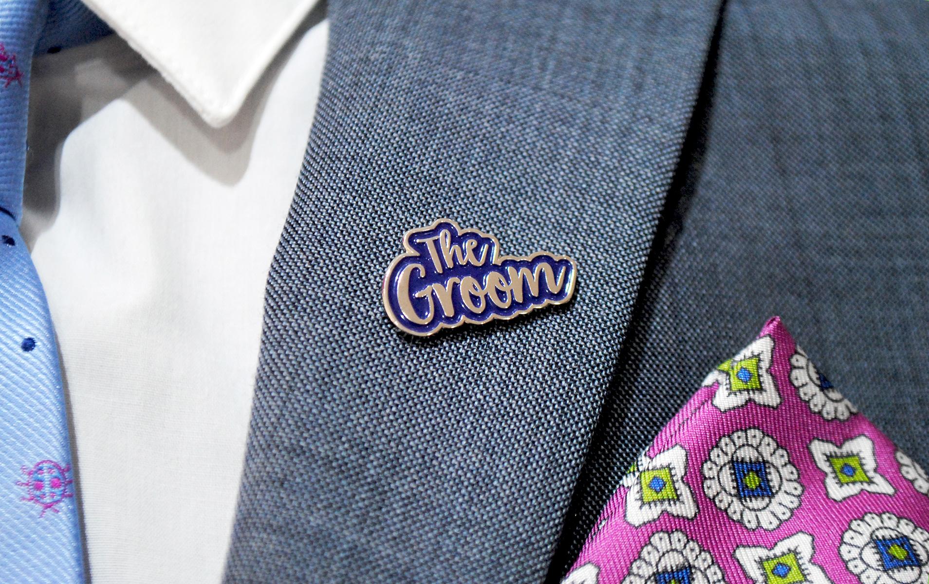 the groom enamel pin wedding stag accessory