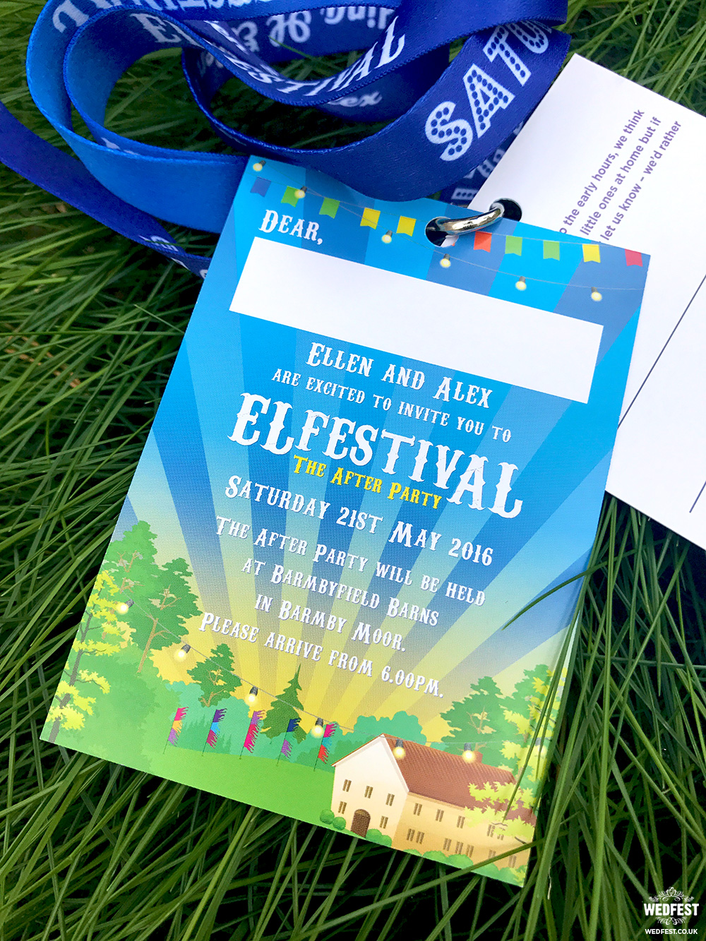 alternative festival wedding invitation lanyards