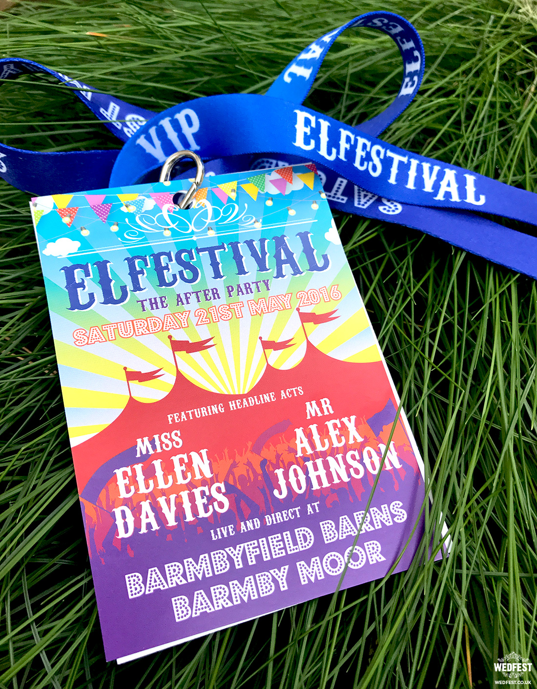 festival wedding lanyard invitations wedfest