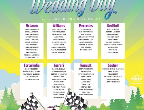 Formula 1 Racing Wedding Table / Seating Plan