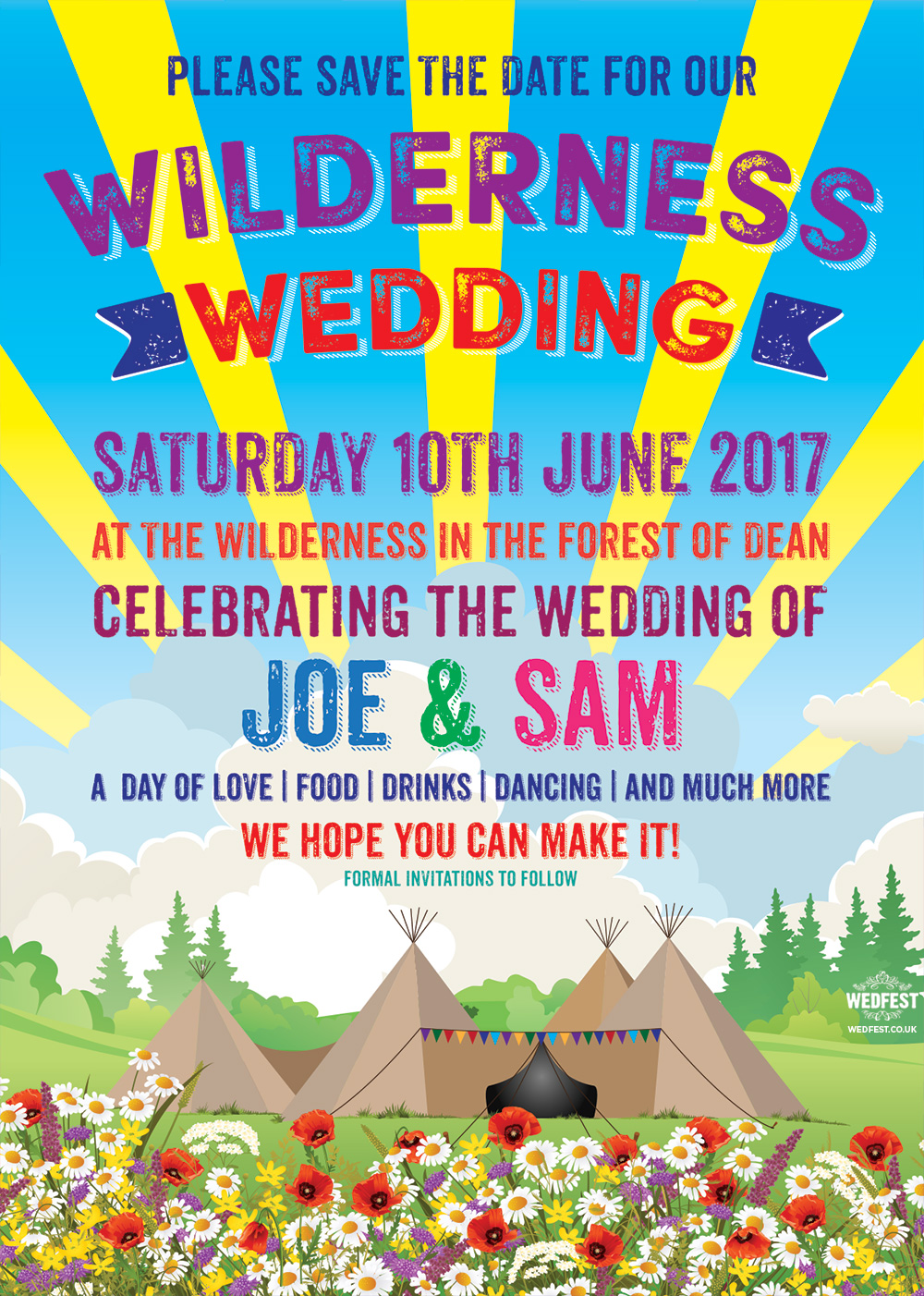 forest of dean wilderness wedding festival tipi save the date
