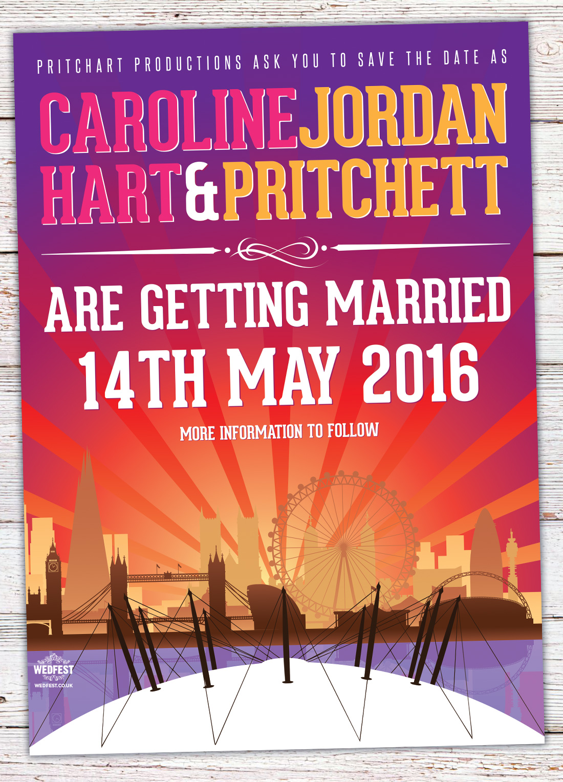 london skyline wedding save the dates