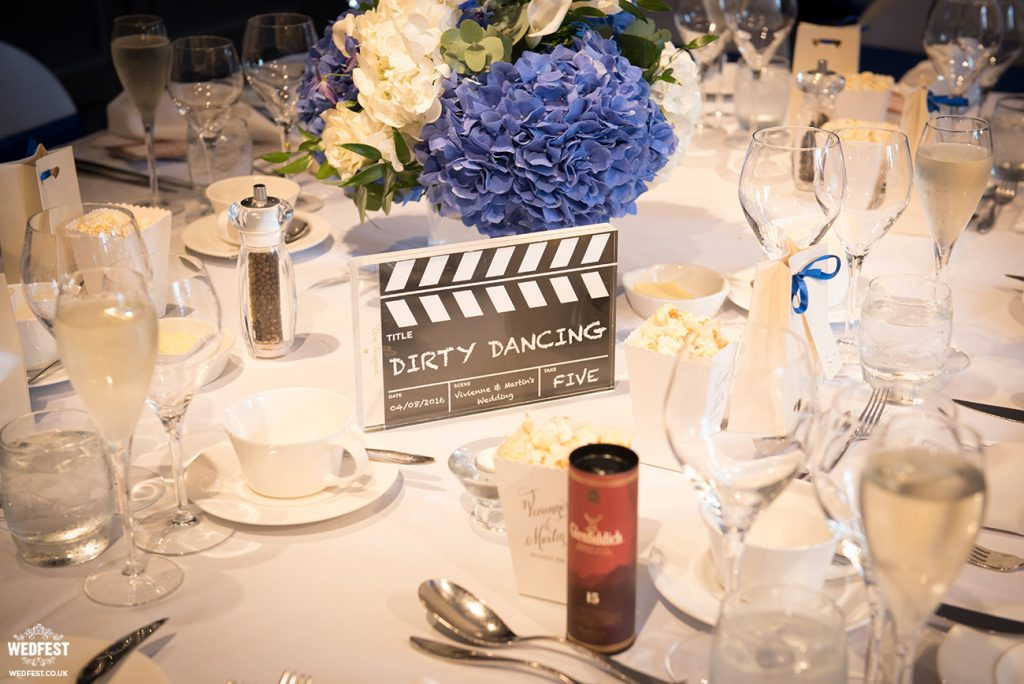 movie theme wedding table name clapper boards