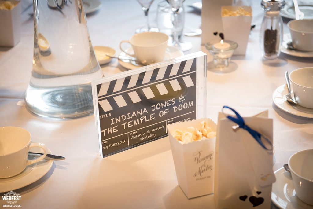 movie themed wedding table centre pieces