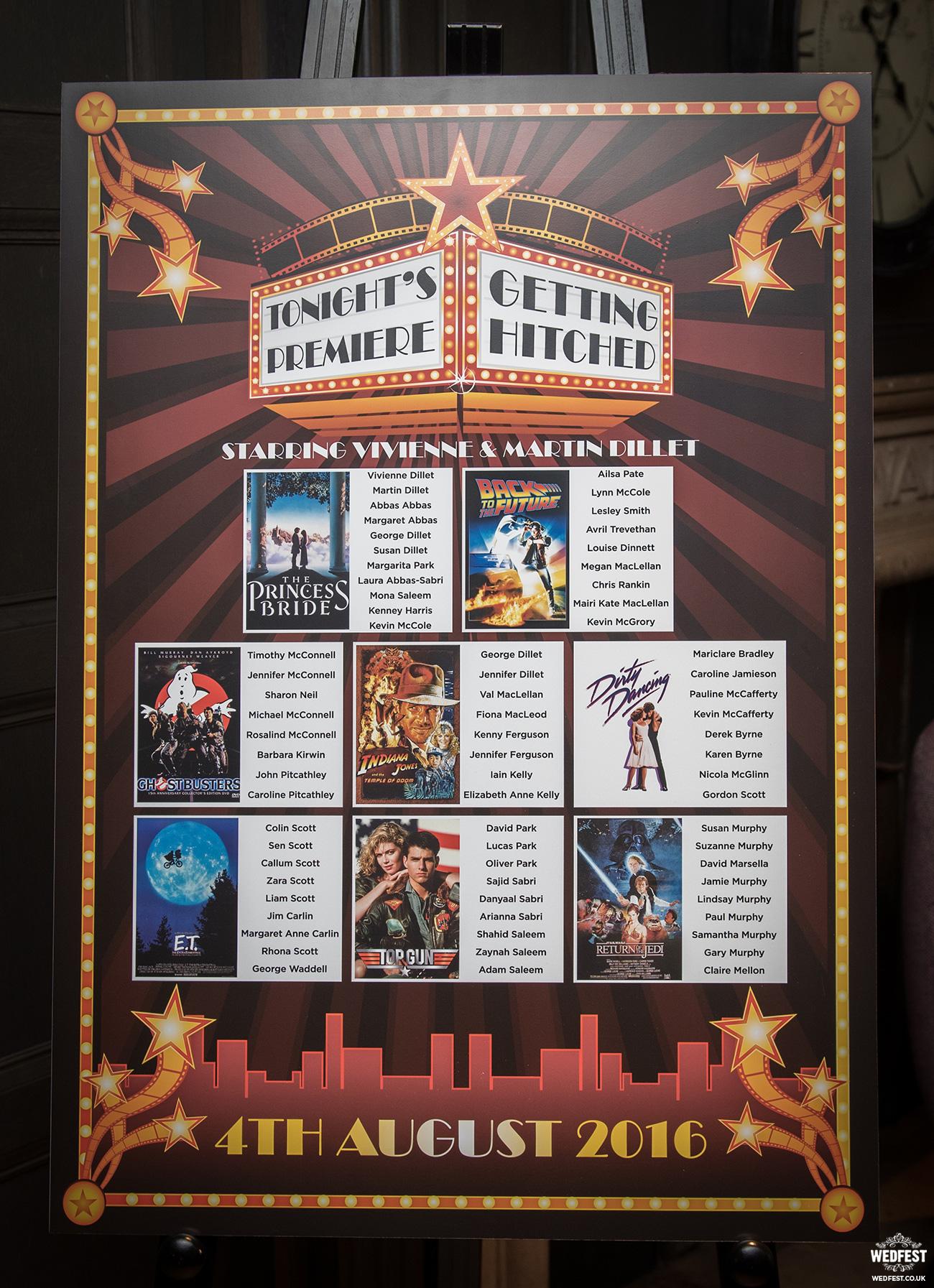 movies cinema mounted wedding table seating chart