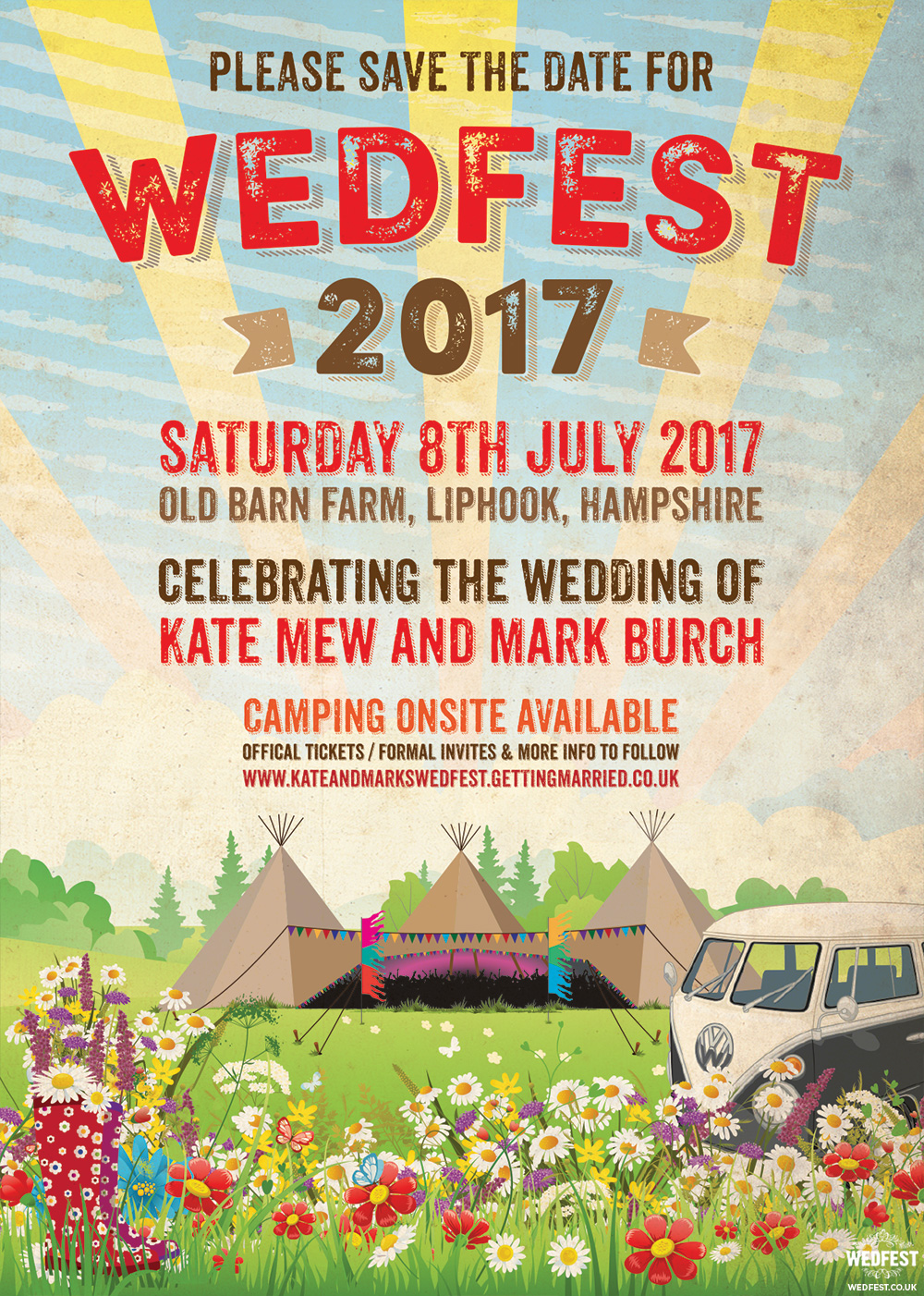 old barn farm wedfest festival wedding save the date