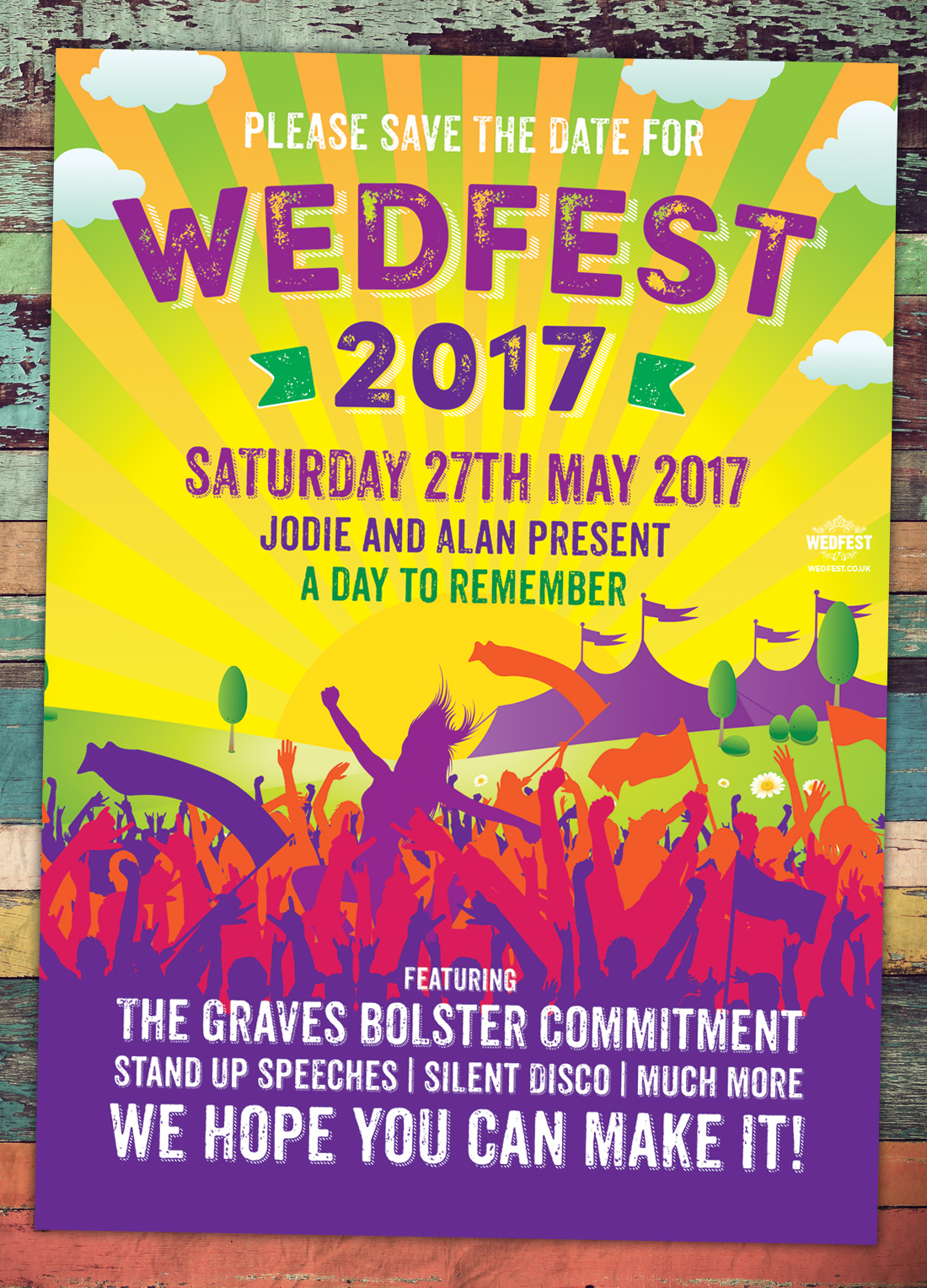 summer wedfest festival wedding save the date