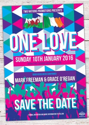 triangle geometric music-festival wedding save the date one love