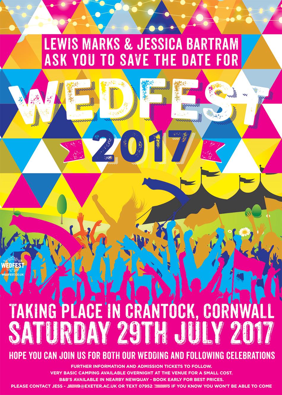 wedfest triangle geometric music festival wedding save the date
