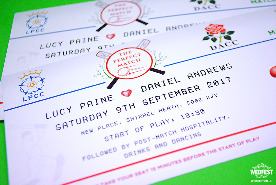cricket match ticket wedding invitations