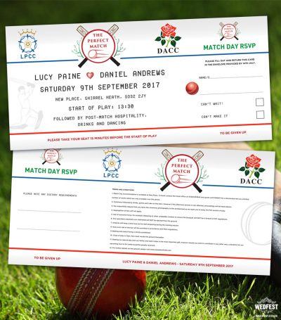 cricket wedding invitations