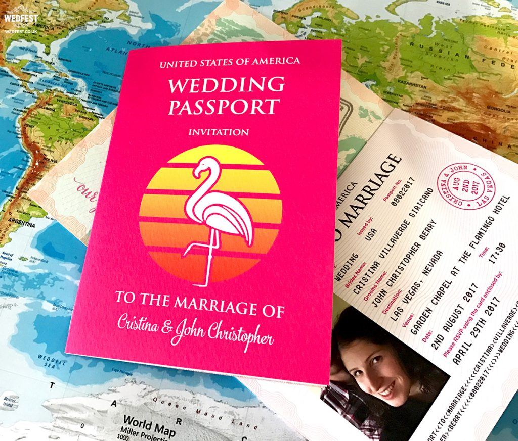 las vegas custom passport wedding invitations