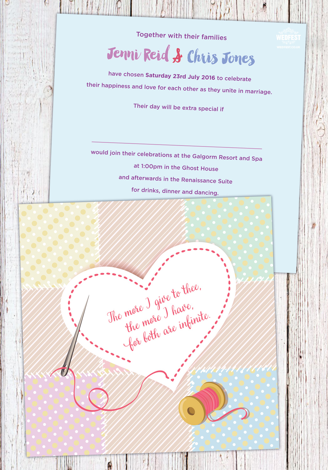 needle and thread stitch wedding invitations