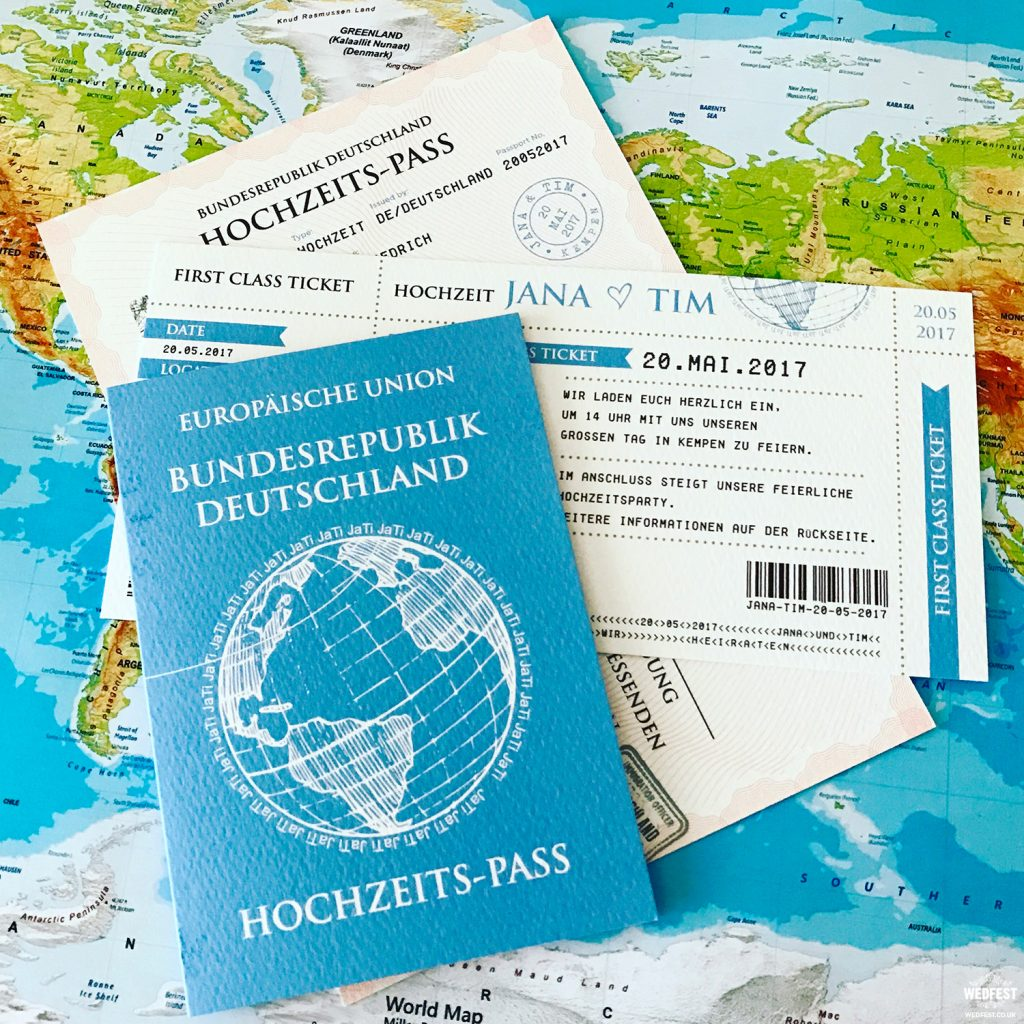 passport to love destination wedding invitation