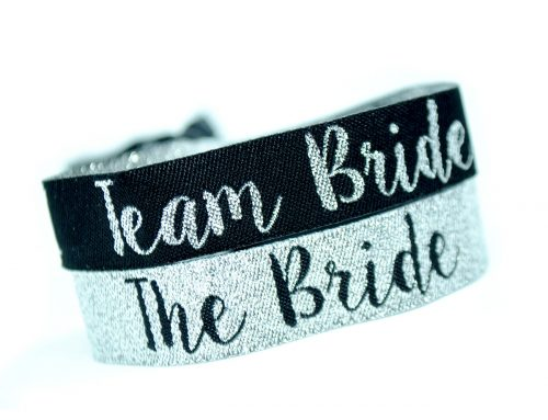 Silver & Black Team Bride & Bride Tribe Hen Party Wristbands