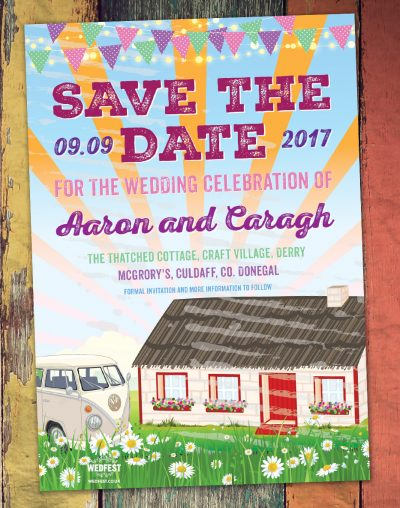 craft village derry thatched cottage wedding save the date