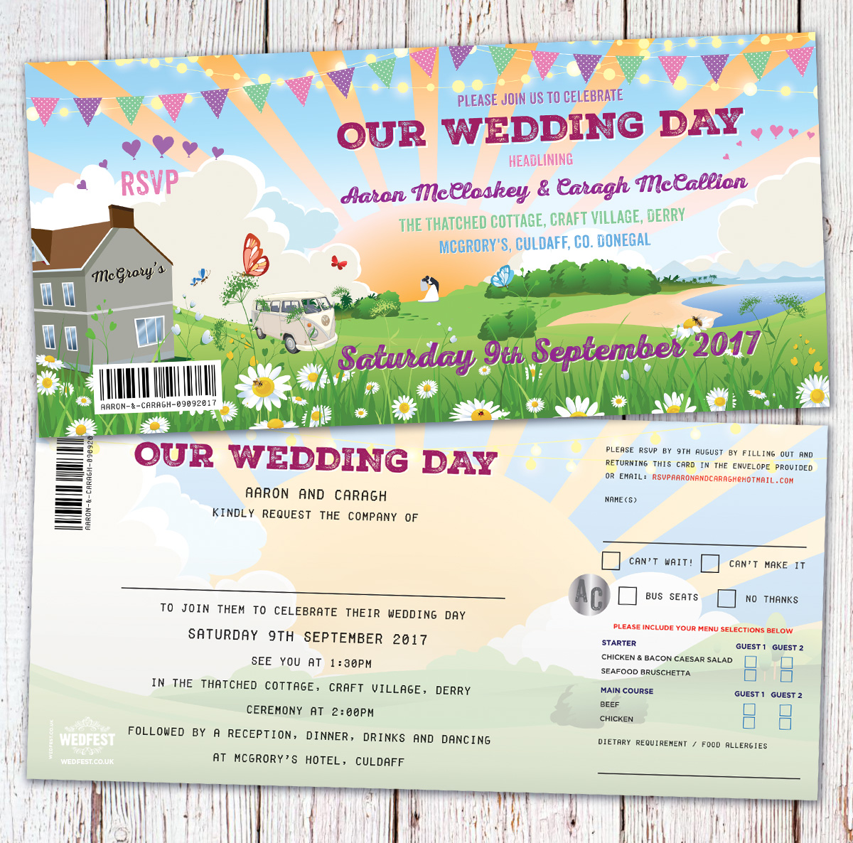 festival wedding donegal mcgrorys culdaff wedding invitations