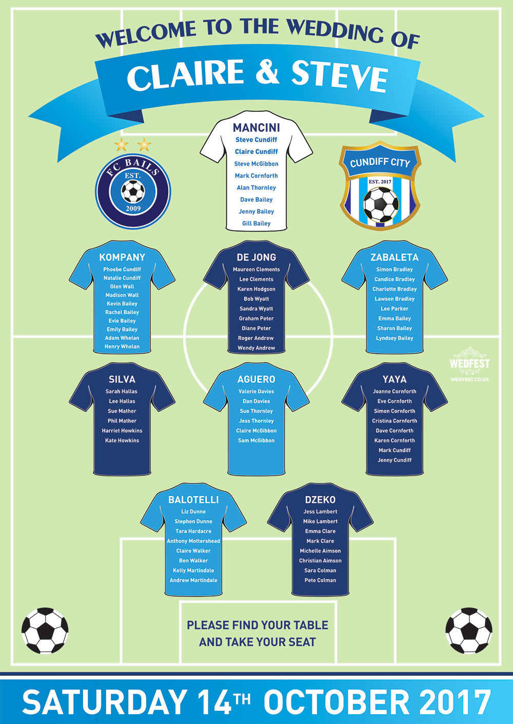 football shirts wedding seating table plan