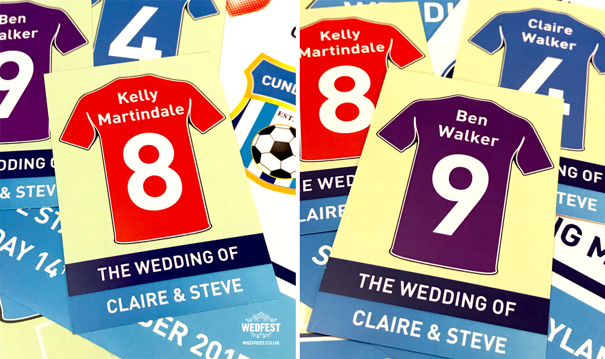 football wedding place cards