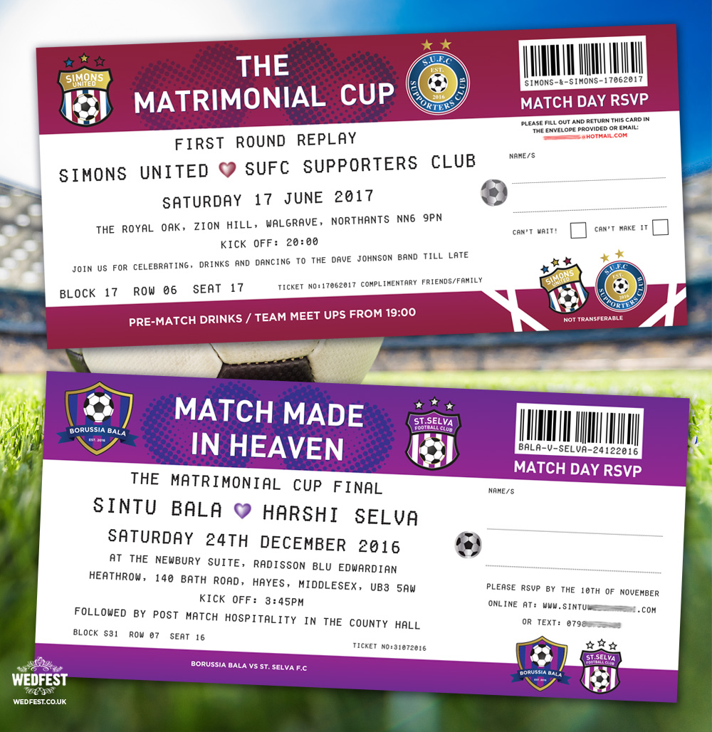 match made in heaven football ticket wedding invitation