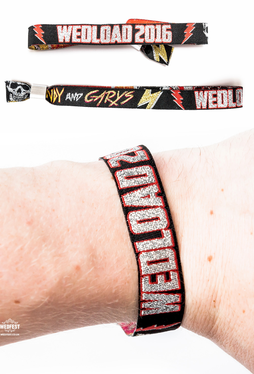 rockers wedding wristbands