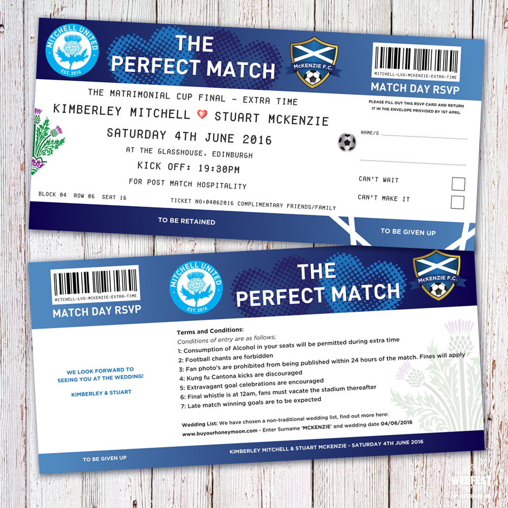 the perfect match football ticket wedding invites