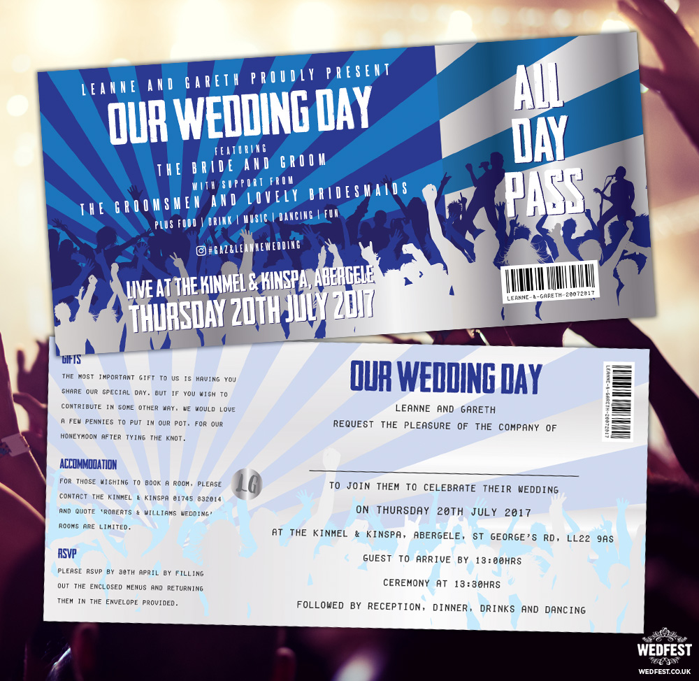 rock concert ticket wedding invites